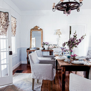 Design ideas for a shabby-chic style dining room in Los Angeles with dark hardwood floors.
