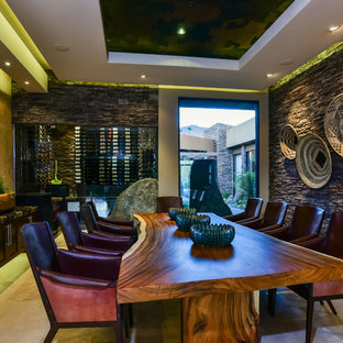 Great room - huge contemporary travertine floor great room idea in Other with brown walls