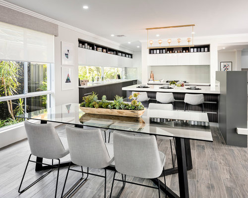 Large Contemporary Open Plan Dining In Perth With Beige Walls, Porcelain  Floors, No Fireplace