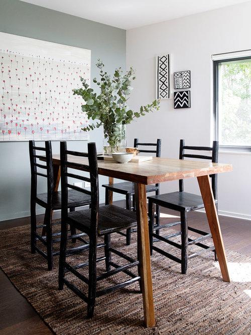 Scandinavian Separate Dining Room In Melbourne With White Walls Dark Hardwood Floors And Brown Floor