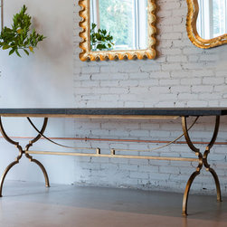 @ the shop - Rough cut oak table with bronzed steel base, artisan made in the USA.  Custom sizes, wood and base styles and finishes available.