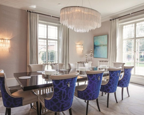 Transitional Dining Room Photo In London With Beige Walls
