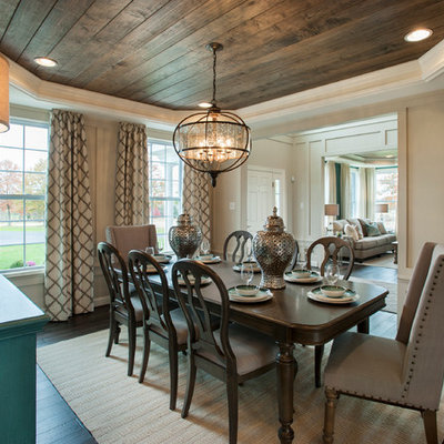 Enclosed dining room - mid-sized transitional dark wood floor enclosed dining room idea in Philadelphia with beige walls and no fireplace