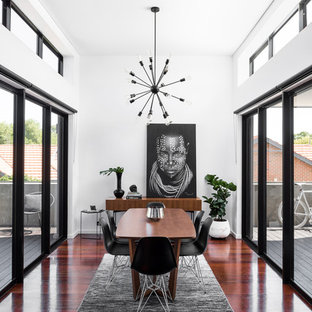 Photo of a contemporary separate dining room in Perth with white walls, dark hardwood floors and brown floor.