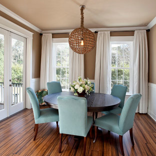 Inspiration for a timeless medium tone wood floor and brown floor dining room remodel in Charleston