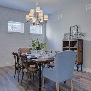 Foto de comedor de estilo americano, grande, cerrado, con paredes grises, suelo de madera en tonos medios y suelo gris