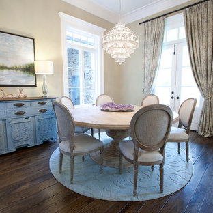 Inspiration for a shabby-chic style dark wood floor dining room remodel in Houston with beige walls