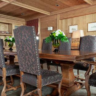 Exemple d'une grande salle à manger ouverte sur le salon éclectique avec un sol en carrelage de céramique, cheminée suspendue, un manteau de cheminée en bois et un sol multicolore.