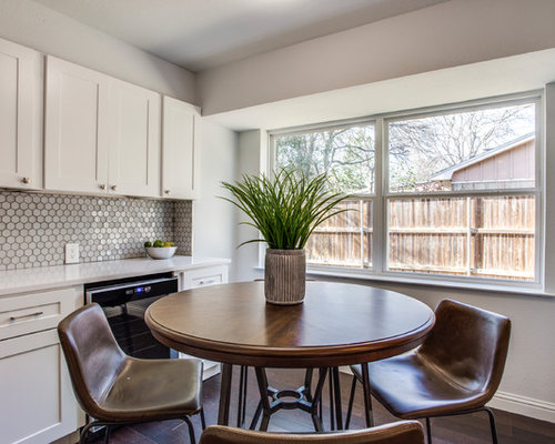 Mid Sized Transitional Dark Wood Floor And Brown Kitchen Dining Room Combo Photo