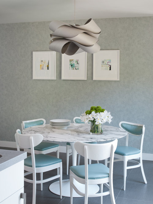 Transitional Ceramic Floor Kitchen/dining Room Combo Photo In San Francisco  With Gray Walls