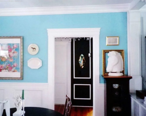 Tiffany Blue Dining Room Clean White Millwork