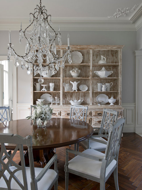 Mid Sized Traditional Enclosed Dining Room Idea In Miami With Gray Walls  And Dark Wood