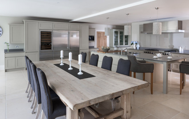 Transitional Dining Room by Mowlem & Co