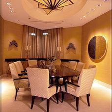 Transitional Dining Room by Tomar Lampert Associates