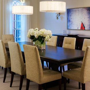 Diseño de comedor clásico renovado con paredes beige y suelo beige