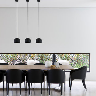 Dining Room Modern Idea In Melbourne With White Walls And No Fireplace