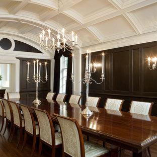 Ispirazione per una grande sala da pranzo classica chiusa con parquet scuro, pareti marroni e nessun camino