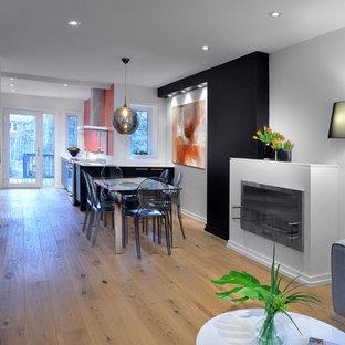 Diseño de comedor de cocina minimalista, de tamaño medio, con chimenea lineal, paredes blancas, suelo de madera clara, marco de chimenea de metal y suelo beige