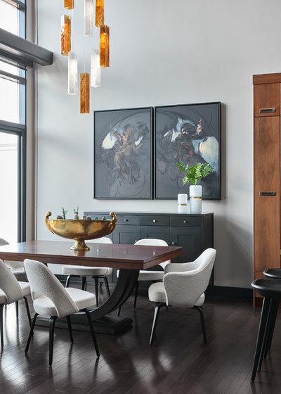 Transitional Dining Room by KMSalter Design