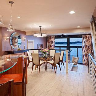 Trendy beige floor dining room photo in Philadelphia with purple walls
