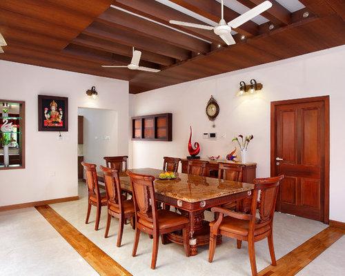 Pareti Bianche E Beige : Sala da pranzo tropicale con pareti bianche foto idee arredamento