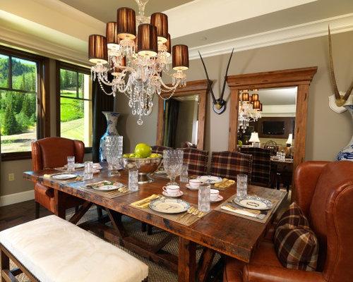 Traditional Dark Wood Floor Dining Room Idea In Salt Lake City With Beige  Walls