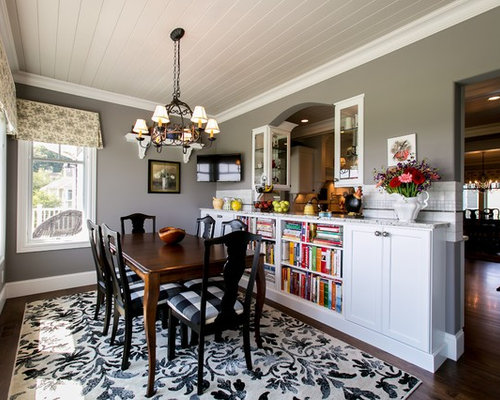 Example Of A Classic Dining Room Design In Other With Gray Walls