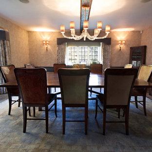 Esempio di una grande sala da pranzo chic chiusa con pareti blu, pavimento in terracotta e stufa a legna
