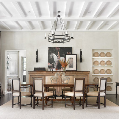 Inspiration for a timeless dining room remodel in Atlanta with white walls