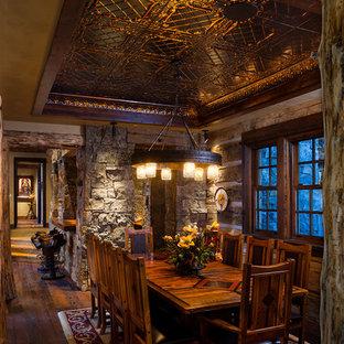 Dining room - traditional dark wood floor dining room idea in Other