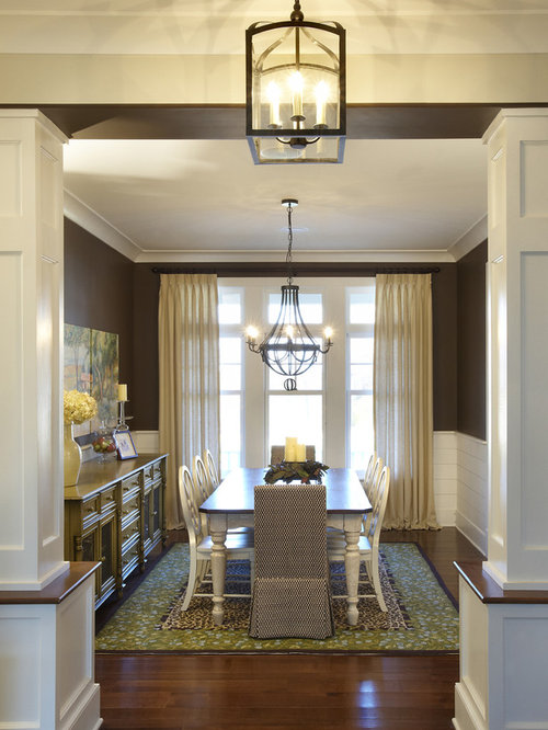 Inspiration For A Timeless Dark Wood Floor And Brown Dining Room Remodel In Chicago With