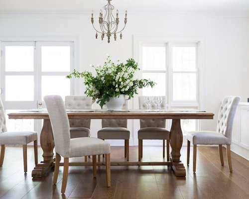 Mid Sized Elegant Dining Room Photo In Sydney With White Walls And Medium Tone Wood
