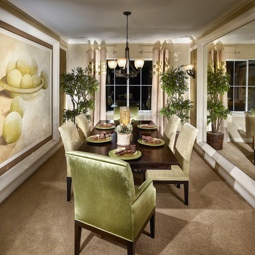 Elegant Enclosed Dining Room Photo In Other With Beige Walls And Carpet