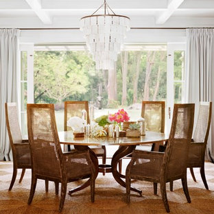 Inspiration for a timeless dark wood floor dining room remodel in San Francisco with white walls