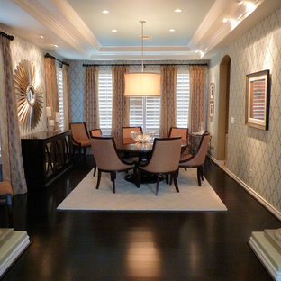 Design ideas for a traditional dining room in Las Vegas with dark hardwood flooring and beige walls.