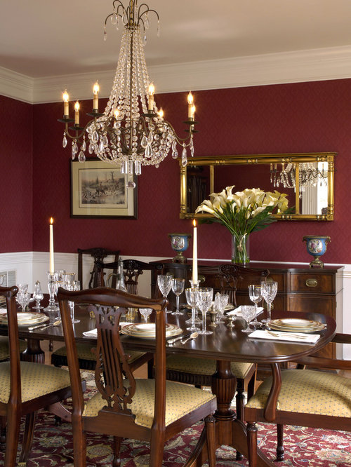 Traditional red dining room design ideas remodels photos for Red dining room decorating ideas
