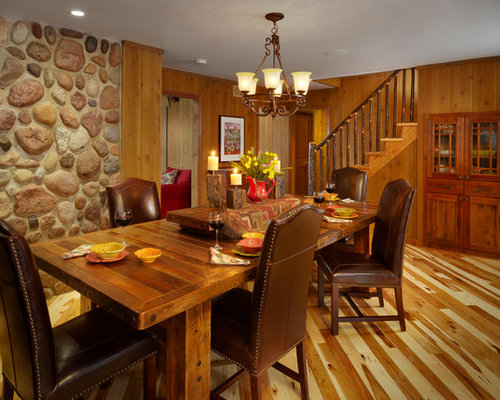 Inspiration For A Timeless Medium Tone Wood Floor Dining Room Remodel In Other