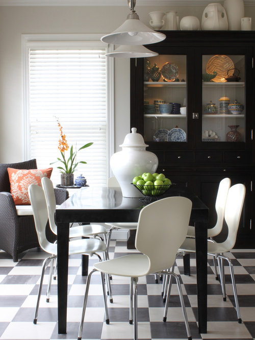 Inspiration For A Timeless Ceramic Floor And Multicolored Floor Dining Room  Remodel In Chicago With Beige
