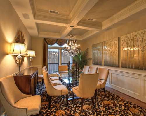 Traditional Dark Wood Floor Enclosed Dining Room Idea In Houston With Beige  Walls Part 58