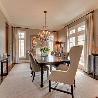 Dining room - traditional beige floor dining room idea in Minneapolis with gray walls