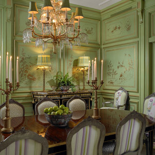 Enclosed Dining Room Traditional Idea In Miami With Green Walls