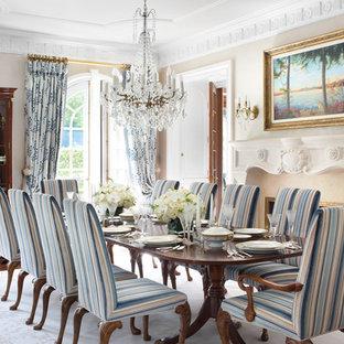 Inspiration för en vintage separat matplats, med beige väggar, mörkt trägolv och en standard öppen spis