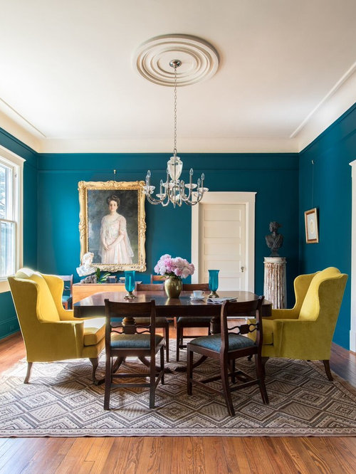 Exceptional Formal Dining Room Ideas Part - 11: Inspiration For A Timeless Medium Tone Wood Floor Enclosed Dining Room  Remodel In Charleston With Blue