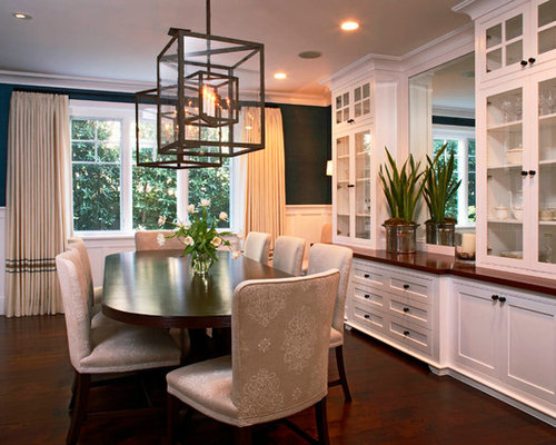 Mid Sized Traditional Dark Wood Floor Enclosed Dining Room Idea In Orange County With Black
