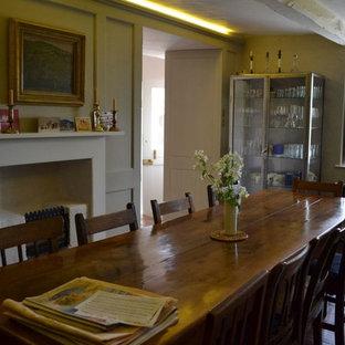 Diseño de comedor clásico, pequeño, cerrado, con paredes verdes, suelo de madera oscura, chimenea tradicional y marco de chimenea de madera