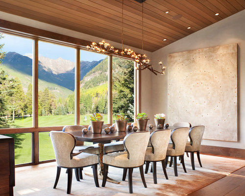 modern contemporary dining room furniture. Example of a trendy medium tone wood floor and brown dining room  design in Denver 70 Best Contemporary Dining Room Ideas Houzz
