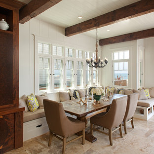 Design ideas for a coastal dining room in San Diego with white walls.