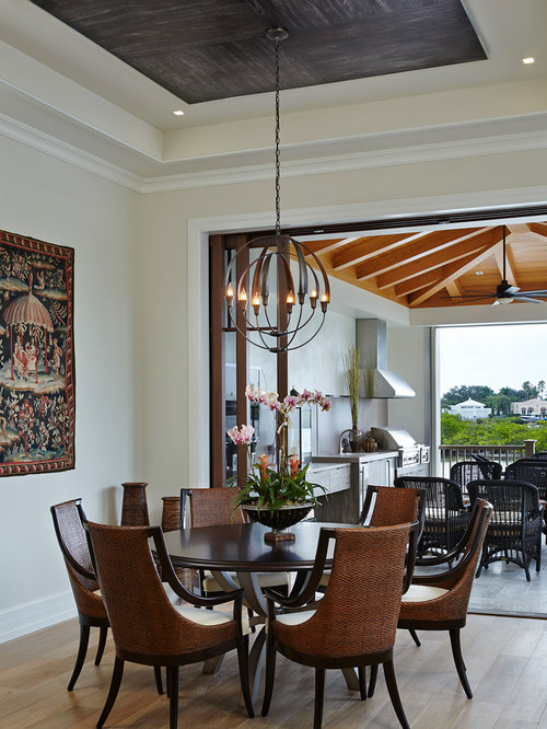 Example Of A Tuscan Light Wood Floor Dining Room Design In Miami