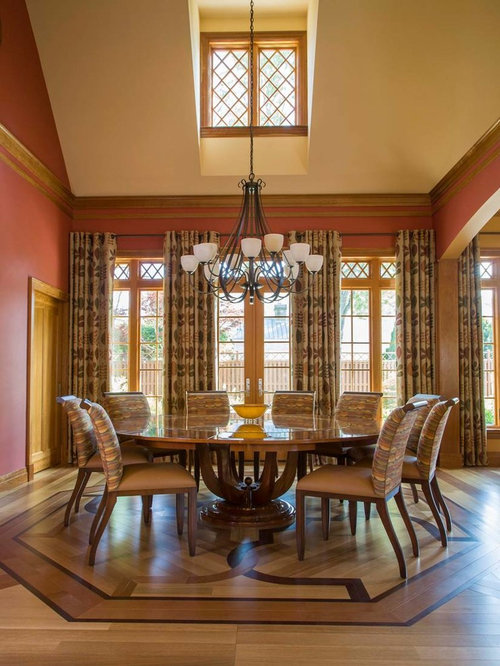 Craftsman dining room design ideas remodels photos with for Dining room ideas with red walls