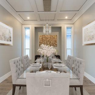 中くらいのトランジショナルスタイルのおしゃれなLDK (グレーの壁、磁器タイルの床、暖炉なし、グレーの床) の写真